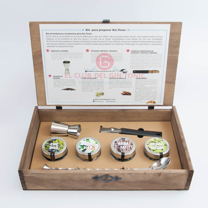 kit para preparar gin tonic con botánicos y accesorios e coctelería