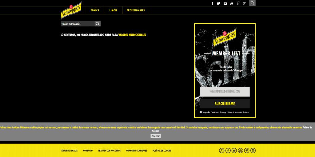 Captura de pantalla web schweppes