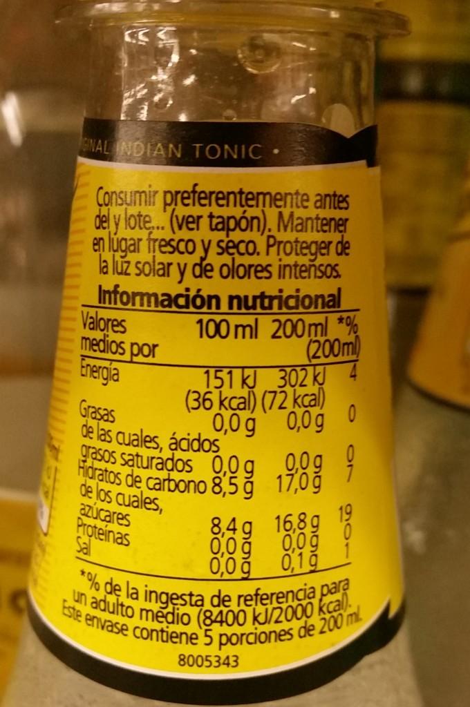 Cuantas calorías tiene la tónica Schweppes. etiqueta.